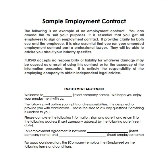 14 basic contract templates samples examples format for Basic contract of employment template