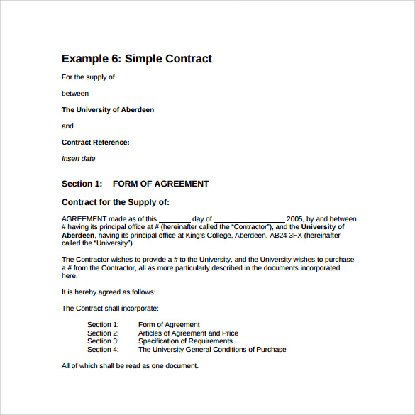 Sample Basic Contract Template   Free Sample Example Format