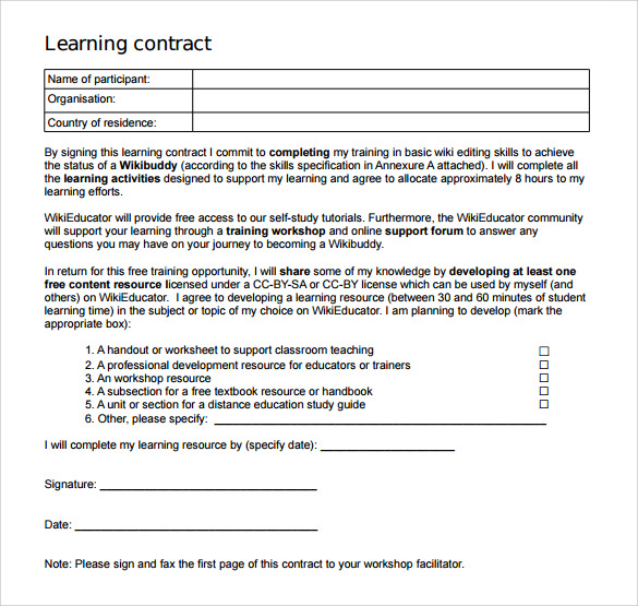 basic learning contract template