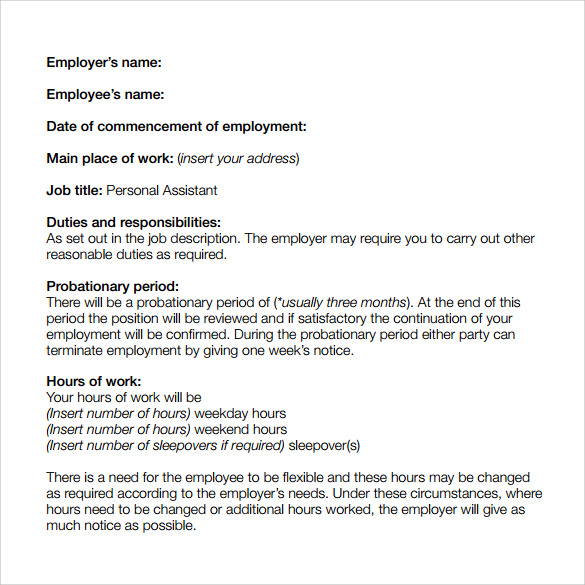 Doc818522 Employment Contract Free Template employment – Employment Contract Free Template