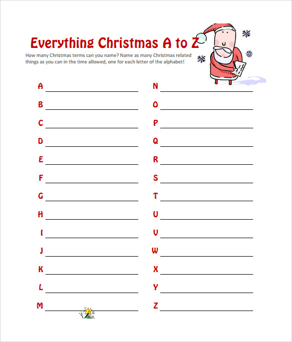 picture relating to Printable Christmas Games for Adults referred to as Pattern Xmas Activity - 11+ Files Within PDF, Term, Excel
