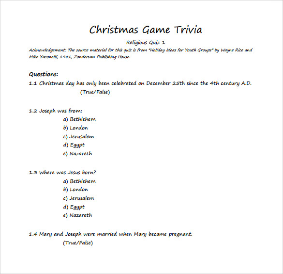 Christmas Trivia Pdf.Sample Christmas Game 11 Documents In Pdf Word Excel