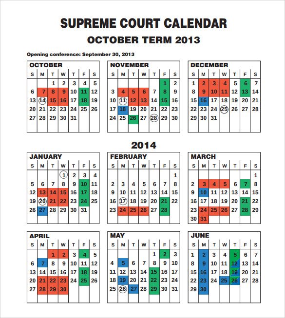 sample 3 month court calendar