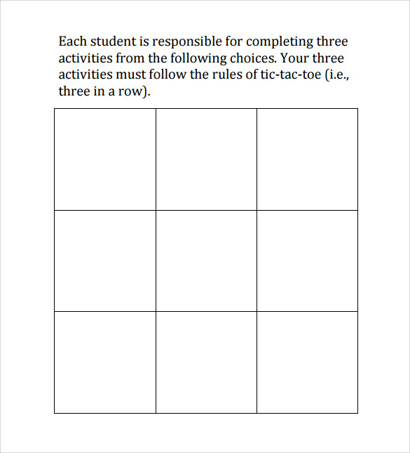 20 tic tac toe samples sample templates for Tic tac toe template for teachers