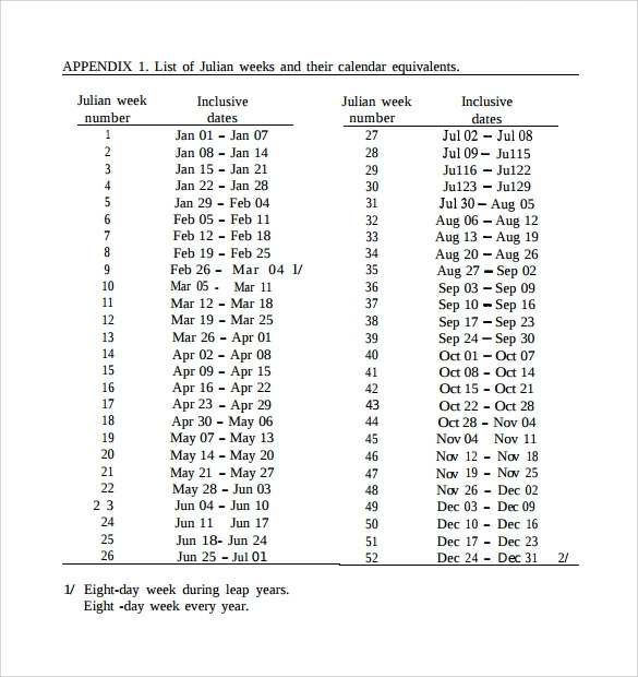 Sample Julian Calendar   Download Free Documents In Pdf