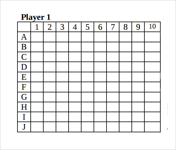 picture about Battleship Game Printable identified as Pattern Battleship Match - 9 + Information within just PDF