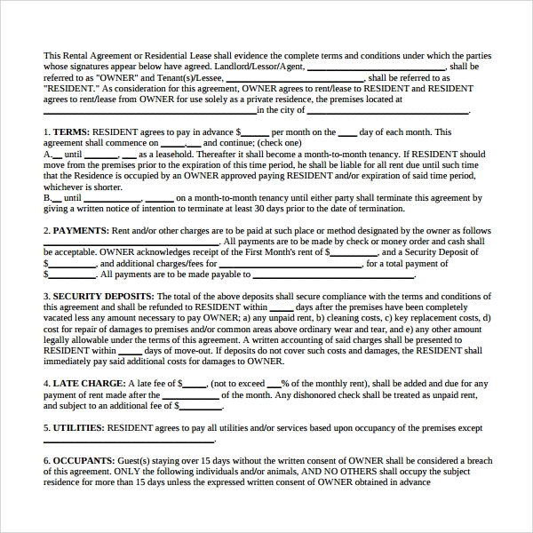 tenant residential lease form