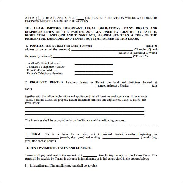 basic tenant lease form