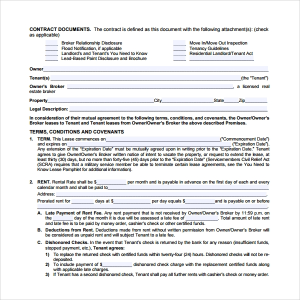 tenant lease form pdf