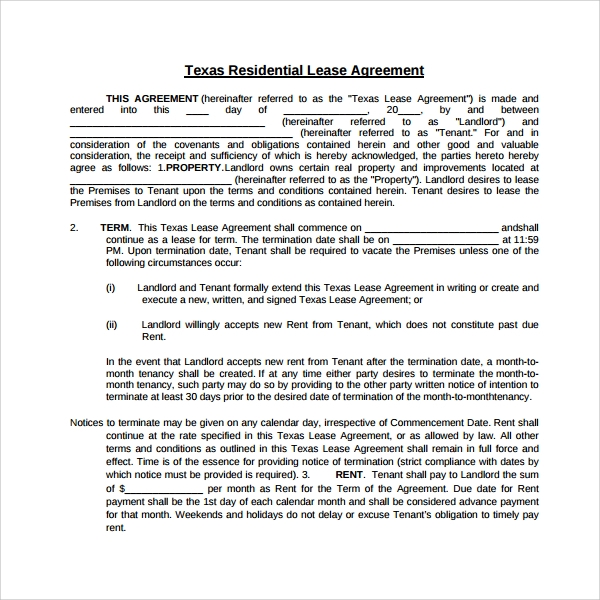 Sample Tenant Lease Form   Download Free Documents In Pdf Word