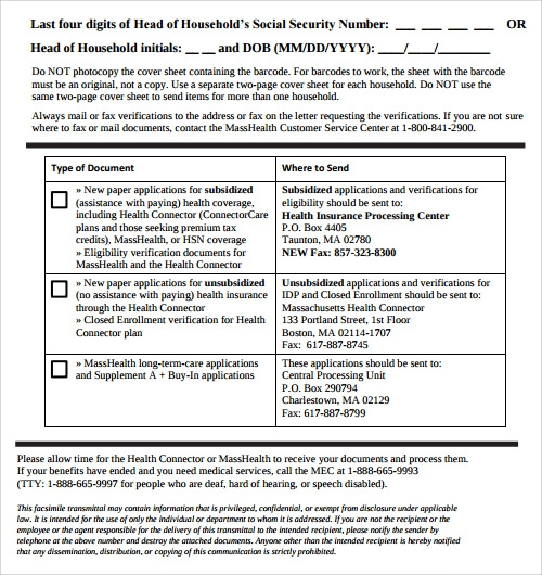 masshealth fax cover sheet free1