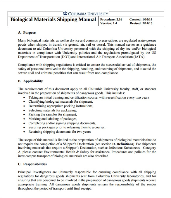 Sample Shipping Manual   Documents In Pdf