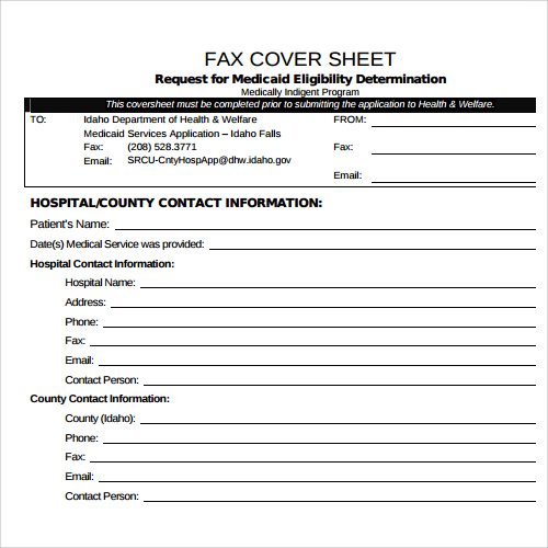 Sample Fax Cover Sheet Template   Documents In Pdf Word