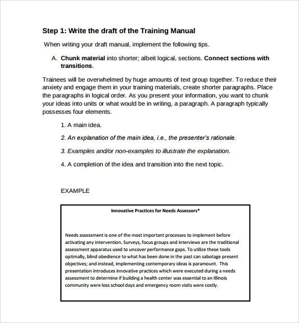 Sample Training Manual Template Example Design Inspirations