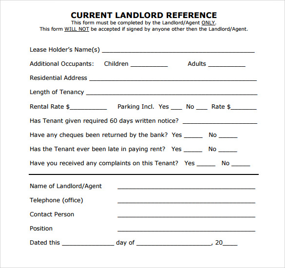 Sample Landlord Reference Template   Free Documents In Pdf  Word