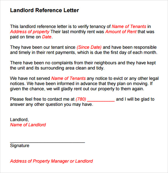 sample landlord reference template