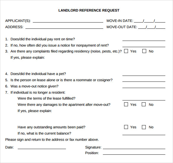 landlord reference request template