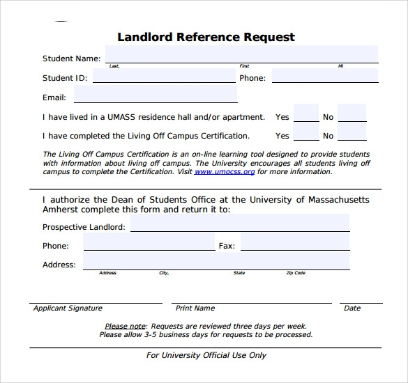 sample landlord reference request