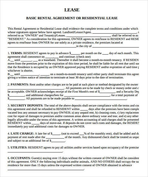 lease agreement template pdf Sample Rental Agreement Template - 10  Documents in PDF