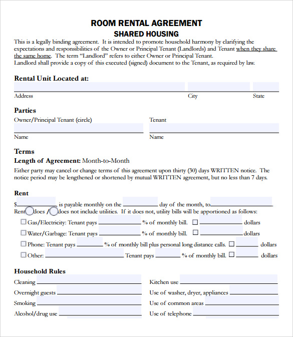 rental agreement template example