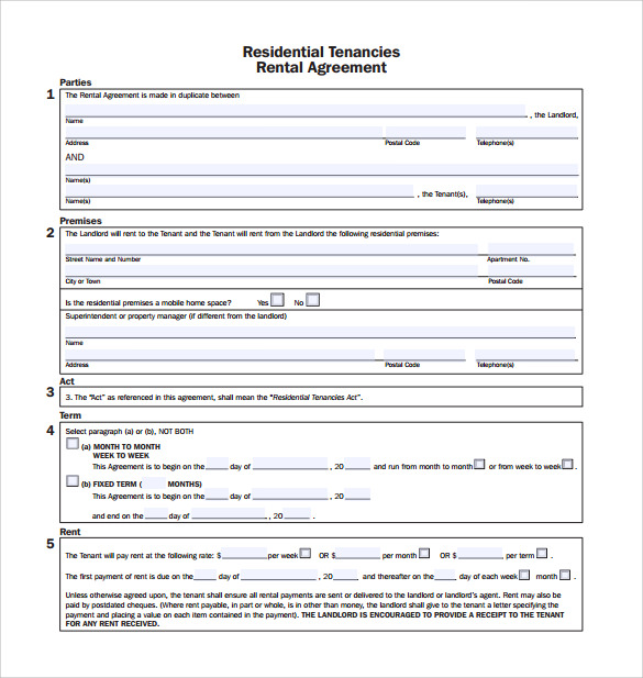 Sample Rental Agreement Template   Documents In Pdf
