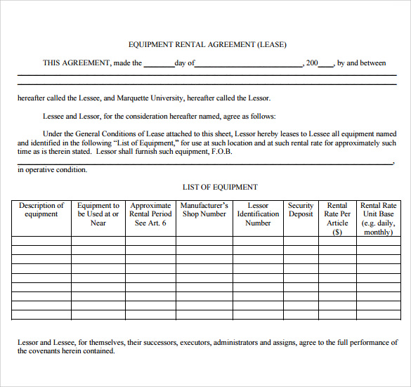 rental agreement template free printable