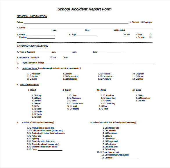 School Accident Report Template  Free Printable Incident Reports