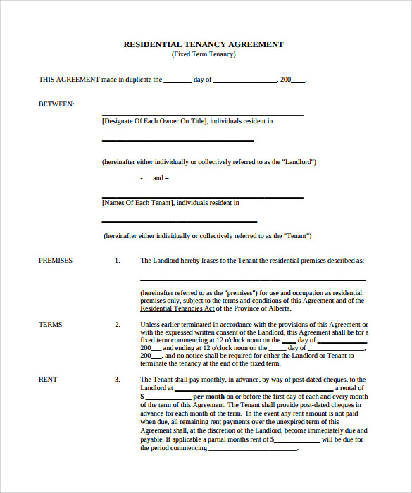 free rental agreement template