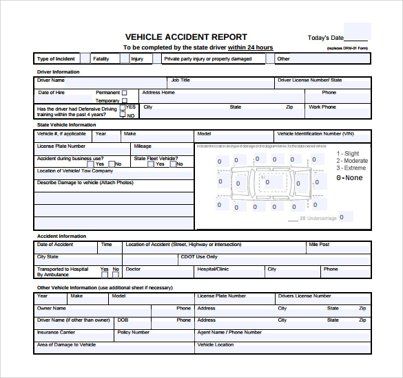 12 sample accident report templates pdf word pages for Vehicle accident investigation form template