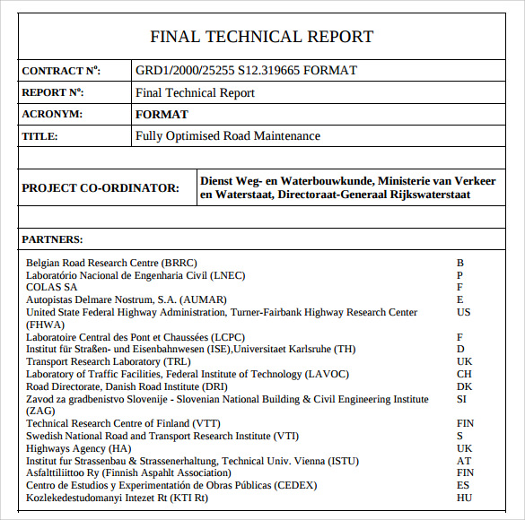 8 technical report samples examples templates sample for Technical service report template
