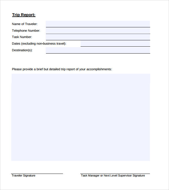 14 sample trip reports sample templates trip report template form friedricerecipe Gallery
