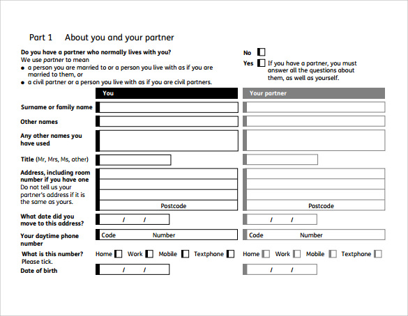 simple housing benefit form