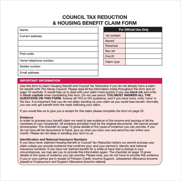 housing benefit form pdf