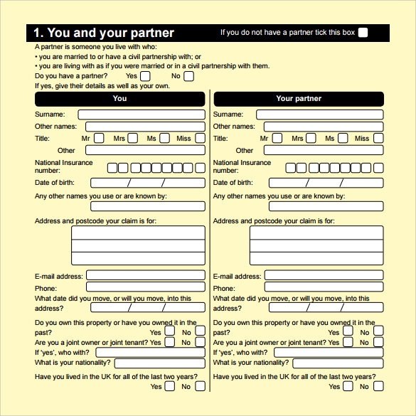 example of housing benefit form