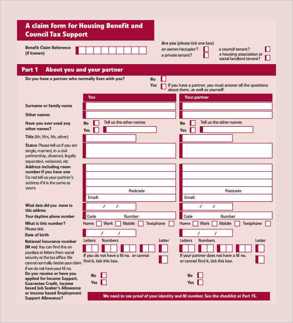 housing benefit council tax form