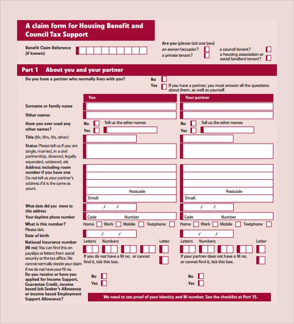 housing benefit form