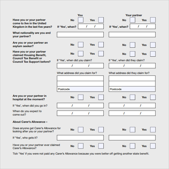 15 housing benefit forms sample templates for Housing application template
