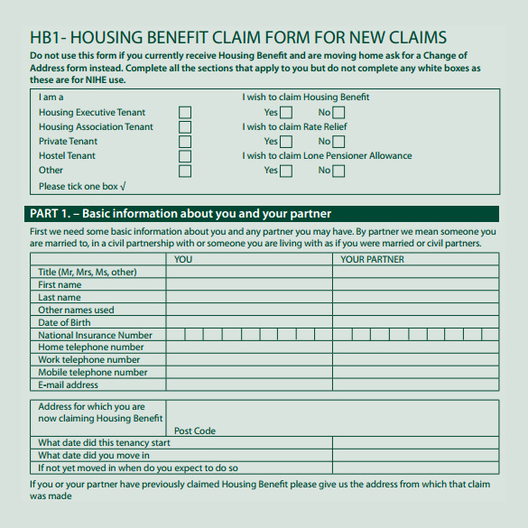 sample housing benefit form