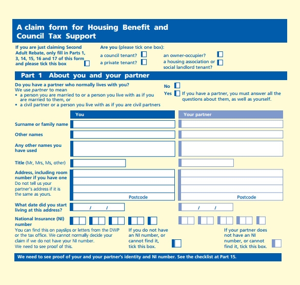 printable housing benefit form