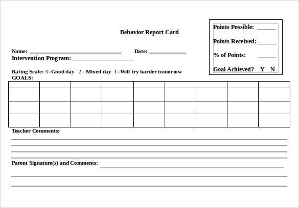 Sample Progress Report Card Template 11 Free Documents in PDF Word – Word Card Template