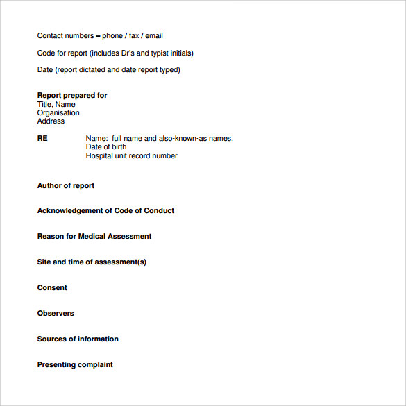 Lab Report Template Downloadable Medical Report Template Sample