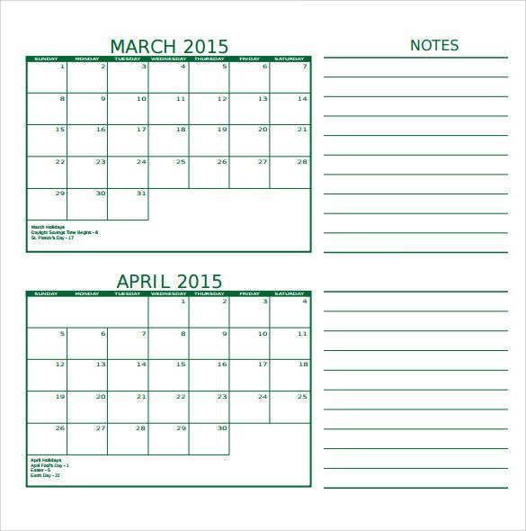 simple calendar template1