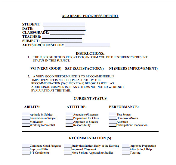 Sample Student Progress Report   Documents In Pdf Word