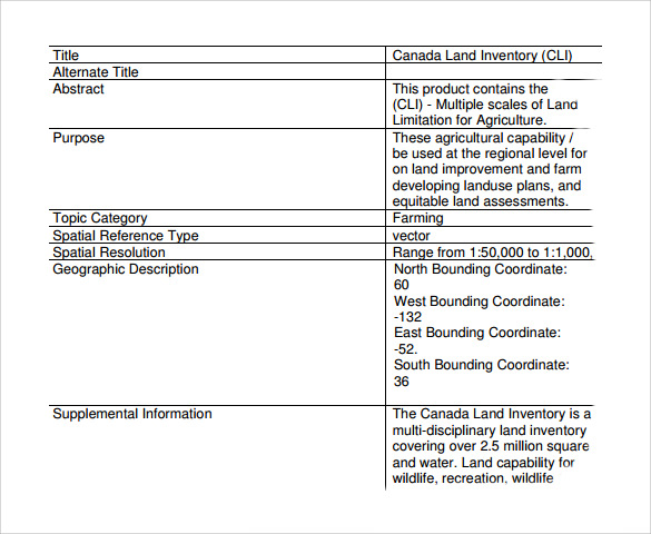 Sample Land Inventory Template   Free Documents In Pdf Word