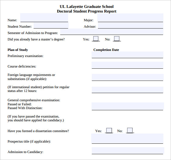 student progress report template