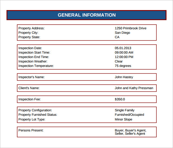 Sample Home Inspection Report    Documents In Pdf