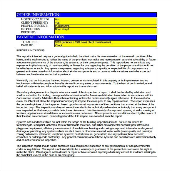 house sample report