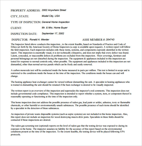 home inspection report free