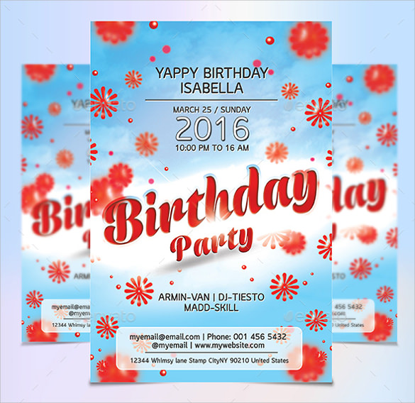 Birthday Party Flyer Template wxX3kT5W