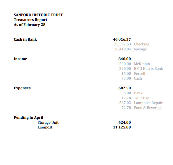 Sample Treasurer Report   Documents In Pdf Word